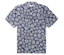 Anthony Grandad-Collar Printed Cotton Shirt