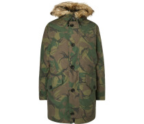 Camouflage-Print Shell Hooded Down Parka