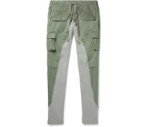 Tapered Cotton Twill-Panelled Mélange Loopback Jersey Sweatpants