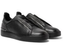 Triple Stitch Full-grain Leather Slip-on Sneakers