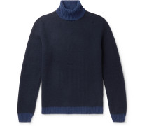 Colour-Block Virgin Wool and Cashmere-Blend Rollneck Sweater