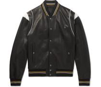 Logo-jacquard Appliquéd Leather Bomber Jacket - Black