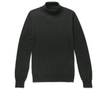 Virgin Wool, Silk And Cashmere-blend Rollneck Sweater - Dark green