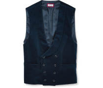 Slim-fit Shawl-collar Double-breasted Cotton-velvet Waistcoat