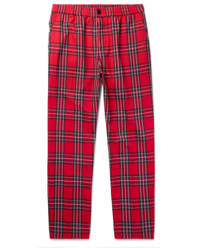 Bryan Checked Woven Trousers - Red