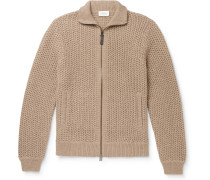 Textured Cashmere and Cotton-Blend Zip-Up Cardigan