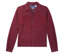 Camp-Collar Braid-Embellished Twill Shirt Jacket
