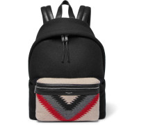 City Leather-trimmed Patterned Felt And Canvas Backpack