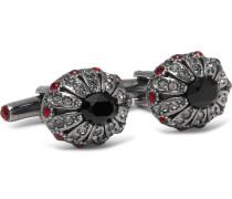 Silver-tone Swarovski Crystal Cufflinks - Silver