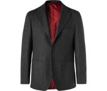 Charcoal Slim-Fit Ribbed Virgin Wool-Blend Blazer
