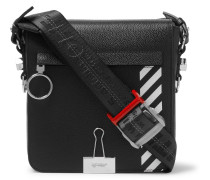 Striped Pebble-grain Leather Messenger Bag - Black