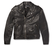 Embellished Leather Biker Jacket - Black