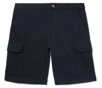 Cotton-blend Jersey Cargo Shorts - Midnight blue