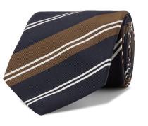 + Drake's 8cm Striped Silk And Cotton-blend Twill Tie - Brown