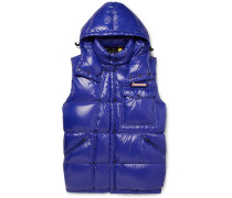 7 Moncler Fragment Ancheta Quilted Shell Hooded Down Gilet - Blue