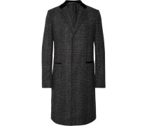 Slim-fit Velvet-trimmed Prince Of Wales Checked Wool-blend Coat