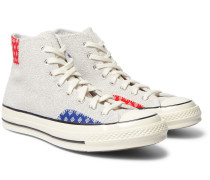 Chuck 70 Twisted Prep Patchwork Canvas and Suede High-Top Sneakers