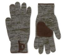 Suede-trimmed Mélange Wool-blend Gloves