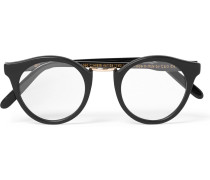 Round-frame Acetate And Silver-tone Optical Glasses - Black