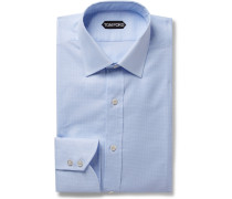 Light-blue Slim-fit Puppytooth Cotton Shirt