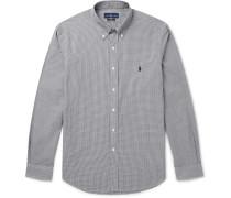 Slim-fit Button-down Collar Gingham Cotton-poplin Shirt