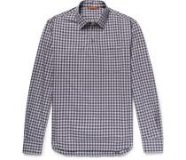 Checked Cotton-poplin Half-placket Shirt