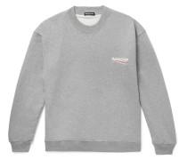 Oversized Logo-print Mélange Loopback Cotton-jersey Sweatshirt - Gray