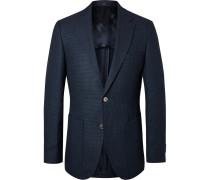 Navy Janson Slim-fit Puppytooth Virgin Wool And Linen-blend Blazer - Navy