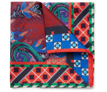 Paisley-print Silk-twill Pocket Square - Red