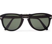 714 Folding D-frame Acetate Sunglasses - Black
