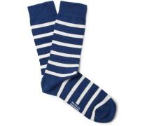 Striped Stretch Cotton-blend Socks - Blue