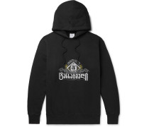 Oversized Embroidered Fleece-back Cotton-jersey Hoodie - Black