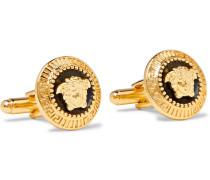 Medusa Gold-tone And Enamel Cufflinks - Gold