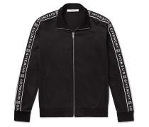 Logo-jacquard Fleece-back Tech-jersey Track Jacket - Black