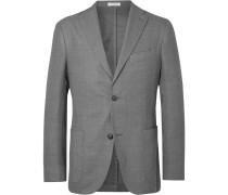 Grey Unstructured Virgin Wool-blend Blazer