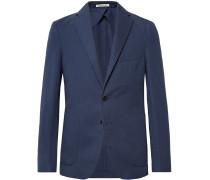 Navy Ross Slim-fit Unstructured Cotton And Linen-blend Suit Jacket - Blue