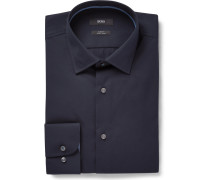 Midnight-blue Jesse Slim-fit Cotton-poplin Shirt