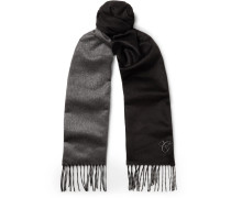 Two-tone Silk And Cashmere-blend Scarf - Black