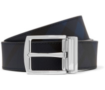 3.5cm Navy And Black Reversible Leather And Cross-grain Faux Leather Belt - Navy