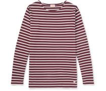 Striped Cotton-jersey T-shirt - Burgundy