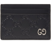 Embossed Leather Cardholder - Navy