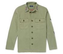 Embroidered Herringbone Cotton Shirt Jacket
