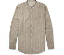 Slim-fit Grandad-collar Watercolour-dyed Striped Cotton Shirt