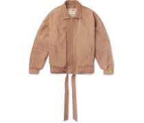 Panelled Nubuck Jacket - Brown