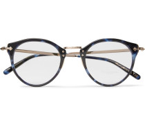 Op-505 Round-frame Tortoiseshell Acetate And Gold-tone Optical Glasses - Blue