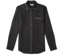 Piped Silk Shirt - Black
