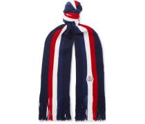 Striped Fringed Virgin Wool Scarf - Navy