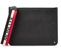 Small Cross-grain Leather Pouch - Black