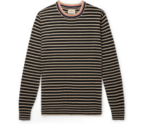 Striped Cotton And Wool-blend Sweater - Navy