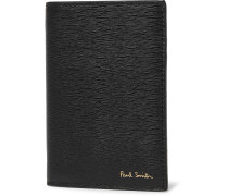 Textured-leather Bifold Cardholder - Black